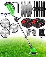 Hiboss充電式芝刈り機24V小型刈払機2セクションバッテリー芝刈り機 電動、草刈り機 充電式/刈払機 充電式、雑草トリマー、長さ調節可能、強力で軽量、長持ちする、低木