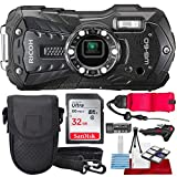 Ricoh WG-60 Waterproof Digital Camera, Black with 32GB, Floating Strap,...