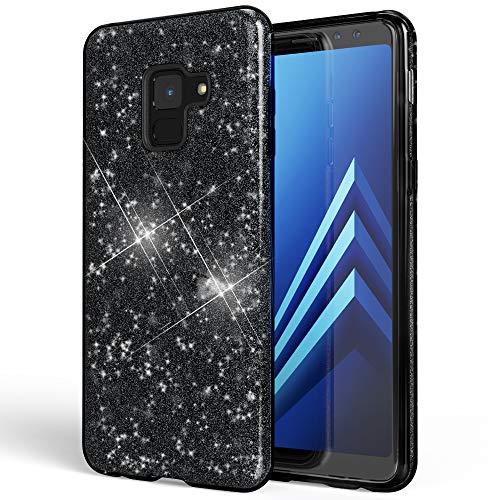 NALIA Hülle kompatibel mit Samsung Galaxy A8 (2018) Glitzer Handyhülle Ultra-Slim Silikon Hülle Back-Cover Schutzhülle, Glitter Handy-Tasche Bumper, Dünnes Bling Phone Etui, Farbe:Schwarz