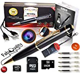 Gadgets Spy Camera Pen Bundle 1080p HD Spy Pen 16GB SD Micro Card + USB Card Reader + 5 Ink Fills + Updated Battery - Record Executive Multifunction DVR Hidden Pen