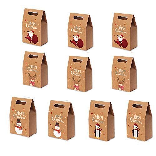 10 Cajas de Regalo de Papel Kraft Navideño, Papel Kraft Navideño Caja de Chocolate, Caja de Regalo de Navidad para Fiesta de Navidad (Papá Noel, Alce, Muñeco De Nieve, Pingüino)