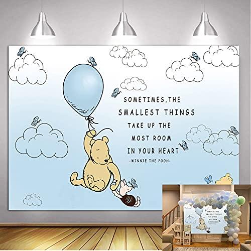 QLDZ Winnie The Pooh fondos niños Feliz cumpleaños fotografía fondo Winnie Baby Shower pastel decoración de mesa accesorios de fondo 2,1x1,5 m