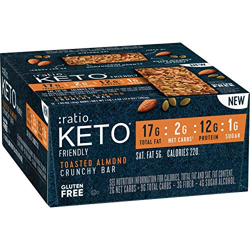 :ratio KETO friendly Toasted Almond Crunchy Bar Gluten Free 12 ct Box