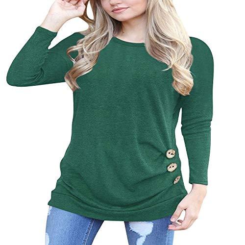 Camiseta de manga larga para mujer, estilo otoñal, estilo europeo y americano, de Amazon Stand-Alone, cuello redondo, raglán, decoración de botones Verde verde M