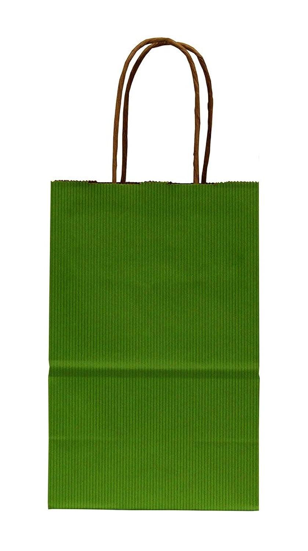 Premier Retail Pinstripe Shopper Bags - Bright Green - 100 Count 5.25x3.5x8.25 inch