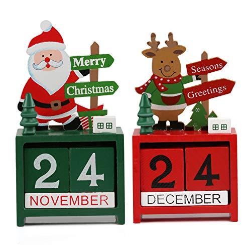 Kesoto 2 PCS Wooden Advent Calendar Christmas Office Decoration, Santa Claus and Reindeer