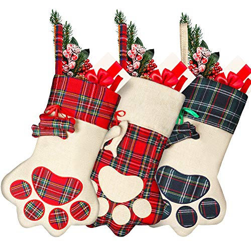 Syhood 3 Pieces 18 Inch Christmas Plaid Stockings Pet Paw Stockings Fireplace Hanging Stockings Hanging Decoration