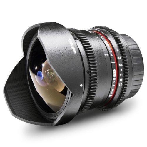 Walimex 18710 Lente de cámara SLR - Objetivo (SLR, 10/7, Objetivo de Ojo de pez, 0,3 m, 8 mm, 180°)