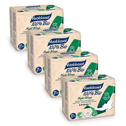 Serviettes hygiéniques Vuokkoset 100% bio et organiques, serviettes de nuit avec ailettes, biodégradables et en coton organique - lot de serviettes hygiéniques 4x9 pièces