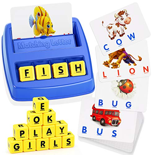 Teaisiy Boy Toys Age 3-8, Matching Letter Game Educational Toys for 3-8 Year Olds Boys Girls Memory Game Spelling Games for Kids Ages 3-8 Birthday Christmas Xmas Gifts for 3-8 Year Old Boys TSUKMLG01