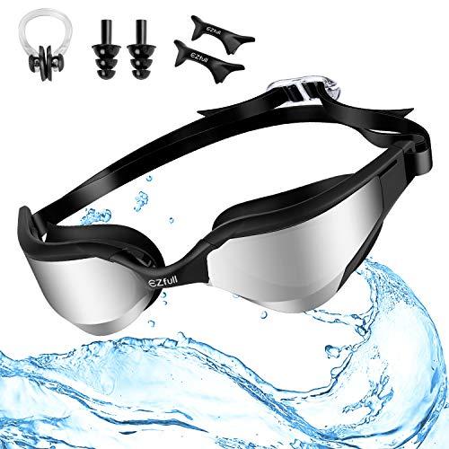 Ezfull Gafas de Natación Gafas para Nadar Anti Niebla y Anti Rayos UV para Hombres Mujeres Adultos Jóvenes Niños, Ideal para Todo Tipo de Agua, Piscina, Deportes Acuáticos