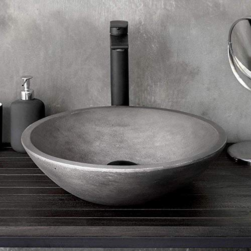 Magnus Home Products Tigard Round Cast Concrete Vessel Bathroom Sink, Dusk Grey, 25.0 lb