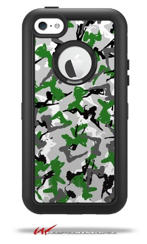 Sexy Girl Silhouette Camo Green - Decal Style Vinyl Skin fits Otterbox Defender iPhone 5C Case (CASE SOLD SEPARATELY)