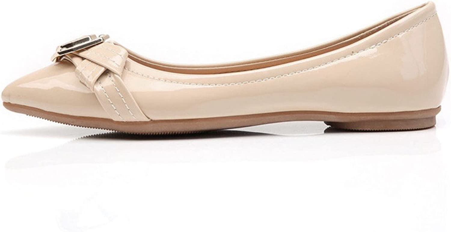 York Zhu Ballet Flats for Women, Patent Buckle Pointed Toe Low-Heeled shoes