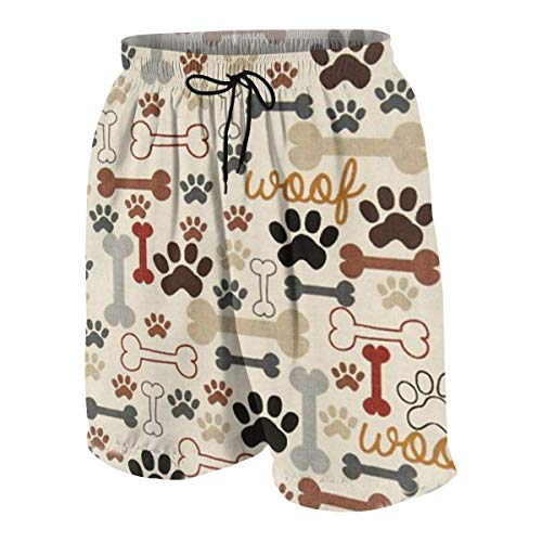 NHCY Pantalon de Plage Teens Beach Board Shorts Quick-Dry Swim Trunks - Dog Bones Paw