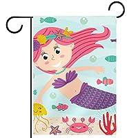 ガーデンフラッグ、屋外看板吊り飾り、水中人魚と動物 、テラス鉢植えデッキ用28x40インチ