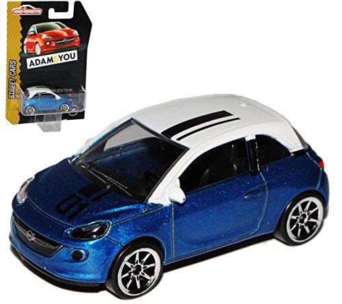Opel Adam 3 Türer Blau mit Weißem Dach 1/64 Norev Modell Auto mit individiuellem Wunschkennzeichen