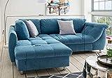 lifestyle4living Ecksofa mit Schlaffunktion | Eckcouch Eckgarnitur Polsterecke L Couch Sofa L Form | Wohnlandschaft inkl. Rückenkissen und Zierkissen | Stoff Blau - 5