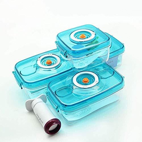 CHENCfanh fiambrera Juego de 4 piezas de caja de almacenamiento de plástico al vacío, contenedor de almacenamiento de alimentos plásticos con tapa, cáncer de almuerzo de calefacción de microondas refr