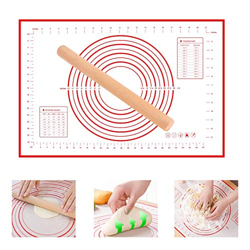 YQMYXGBaking Silicone Mat, Pastry Measurement Mat Extra Large Kneading Matts Pie Crust Mat 16' x 24', Not-Slip Rolling Dough Silicone Mats for Baking(Equipped with a rolling pin) (red)