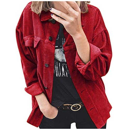 Lazzboy Coat Jacket Womens Corduroy Solid Lapel Casual Loose Fit Buttons Newchic Fashion Shirt Cardigan Parka Outwear (2XL(20),Red)