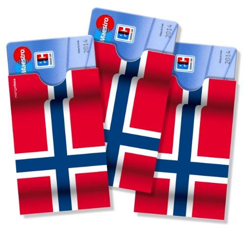 3 Scheckkartenhüllen/Bankkartenhüllen/Ausweishüllen cardbox >>> NORWEGEN Fahne/Flagge