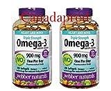 Webber Naturals Triple Strength Omega-3 900mg 200 softgels x 2(2 Bottles)