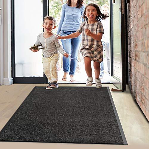 Floordirekt Schmutzfangmatte Monochrom | viele Größen, viele Farben | Länge auf Maß | rutschfeste waschbare Fußmatte (Schwarz, 90 x 150 cm)
