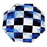 Paraguas anti-UV para sol/lluvia,Ajedrez Grunge Azul Blanco Abstracción Abstracta Fondo Tablero Ajedrez Negro Paraguas de viaje a prueba de viento: compacto, automático.