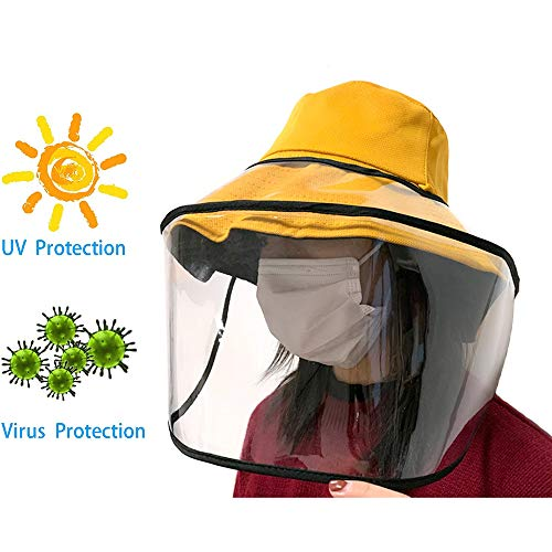 Unisex Anti-Speeksel Protective Hat, Anti-Fog Winddicht Stofdicht Sunbonnet Outdoor Protector Fisherman Hat Full Face Shield Bucket Hoed,Yellow