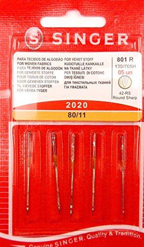 Singer 5 Original Nähmaschinen Nadeln 2020 Stärke 80/11 für gewebte Stoffe 130/705