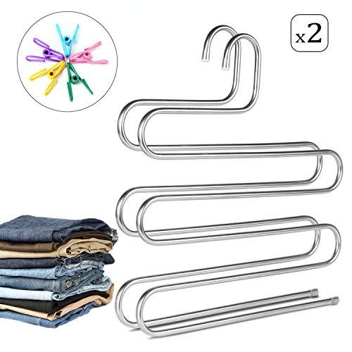 AIDBUCKS Perchas para Pantalones S Tipo Perchas Pantalones Antideslizantes Multifuncion Hanger Perchas Pantalones Acero Inoxidable 5 Capas Metalicas 2 Packs