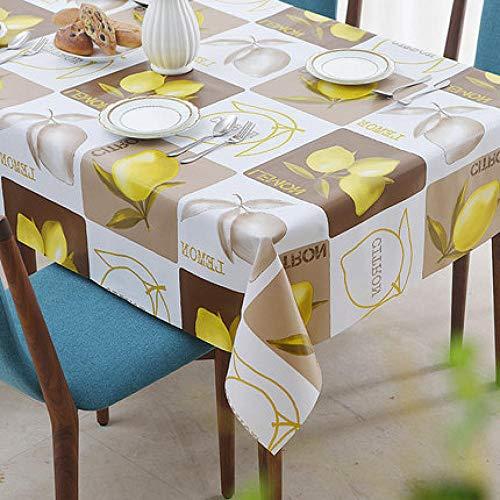 Traann Toallita de plástico para Limpiar, Mantel Cuadrado Mantel de Tela y Varios tamaños-Repelente de Suciedad Mantel Decoración de Muebles Limón-140 * 180