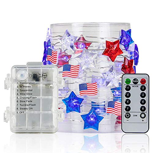 spier American Flag Stars String Lights with Remote Timer 3Meter 30LED Red White Blue Fairy Lights for Memorial Day 4th of July Independence Day(mash up)