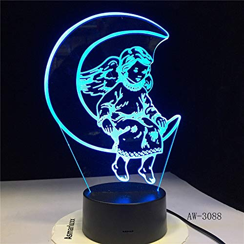 jiushixw 3D acryl nachtlampje met afstandsbediening kleurverandering lampen leuke hoek maan kunststof slaapkamer kinderen mini tafellamp