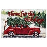 DIY Latch Hook Kits Yarn Kits Rug Pattern Arts and Crafts Crochet Needlework(Christmas Car:25x16in/62X40CM)