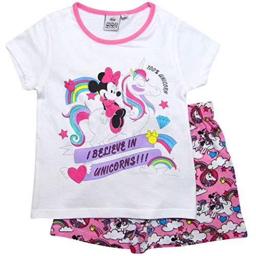 Minnie Mouse Pyjama Mädchen Schlafanzug Disney (Weiß-Rosa, 92-98)