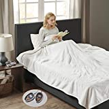 Woolrich Heated Plush to Berber Electric Blanket Throw Ultra Soft Knitted, Super Warm and Snuggly Cozy with Auto Shut Off and Multi Heat Level Setting Controllers, King: 100x90, Ivory