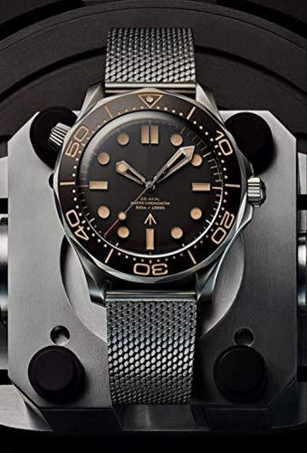 LKYH Klassische Armbanduhr NATO Edelstahl Herren James Bond 007 Uhren ETA 2813 Uhrwerk no time to Die Limited Edition Saphirorange KeramikuhrStahl