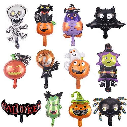 Heatigo Halloween Dekoration Ballon Set 12PCS Halloween Dekoration Ballons für Halloween Party, Kürbisse, Hexen, Fledermäuse (Halloween Ballons)