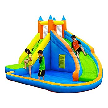 doctor dolphin Inflatable Bounce Slide Water Park Combo Bouncy House for Kids Outdoor Party with Air Blower