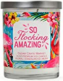 Cedar Crate Market So Flocking Amazing Floral, Sandalwood, Musk, Scented Soy Candles, 10 Oz. Jar Candle, Tropical Candles, Pink Flamingo Candles, for Women, Funny Candles