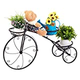 unho Iron Flower Plant Stand 3 Potted Bicycle Shape Garden Planters Rack Patio Metal Display Shelf Stand Indoor Outdoor