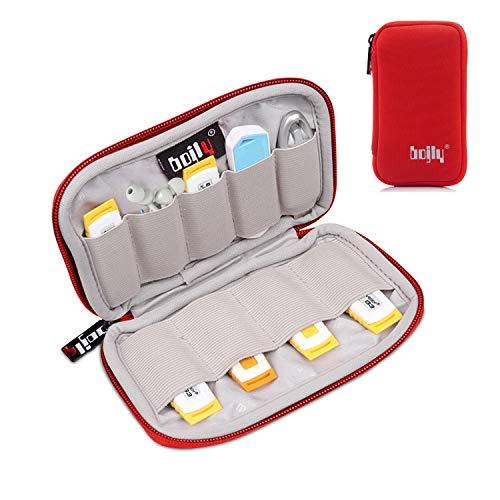 BOJLY Custodia per chiavette USB, Custodia per Accessori in Nylon Custodia Imbottita Impermeabile con 9 Scomparti per Scheda SD, Chiave USB, Cavo per Auricolare e Disco Rigido Esterno, Rosso