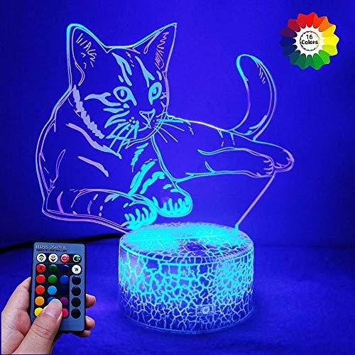 HPBN8 3D Katze Lampe USB Power Fernbedienung 7/16 Farben Amazing Optical Illusion 3D LED Lampe Formen Kinder Schlafzimmer Nacht Licht