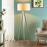 Lindby Dreibein Stehlampe 'Benik' (Modern) in Weiß aus Textil u.a. für Wohnzimmer & Esszimmer (1 flammig, E27, A++) - Stehleuchte, Floor Lamp, Standleuchte, Wohnzimmerlampe, Tripod, Wohnzimmerlampe