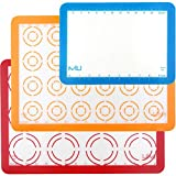 MIU Silicone Baking Mat, Non-Stick Cookie Baking Mat, 2 Half Sheets and 1 Quarter Sheet, Perfect Baking Pad Cookie Kit for Macarons, Cake, Bread and Pastry(Set of 3)
