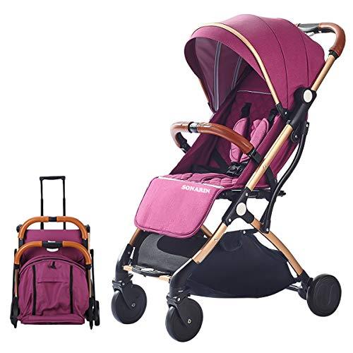 SONARIN Leicht Kinderwagen,kompakt Reise Buggy,einhändig faltbar,Fünf Punkt Gurt,ideal für Flugzeug(Lila)