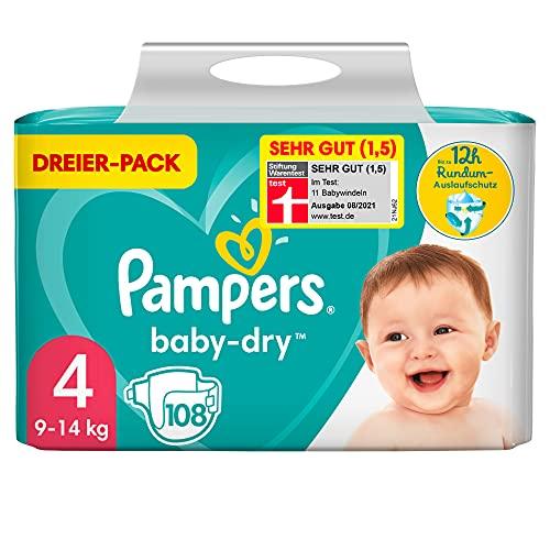 Pampers Windeln Größe 4 (9-14kg) Baby Dry, 108 Stück, Bis Zu 12Stunden Rundum-Auslaufschutz