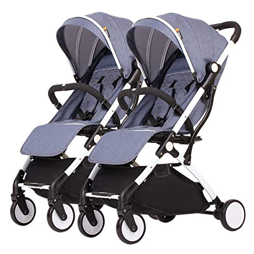 MeTikTok Ultralight Tandem Stroller, Twin Baby Strollers Can Sit Detachable Best Infant Carriage Children's Lightweight Travel Folding Everyday Umbrella Stroller System,Blue